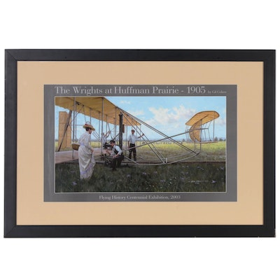 """Offset Lithograph after Gil Cohen """"The Wrights at Huffman Prairie - 1905"""""""