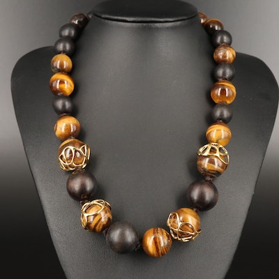 Alexis Bittar Graduated Tiger's Eye and Wood Beaded Necklace