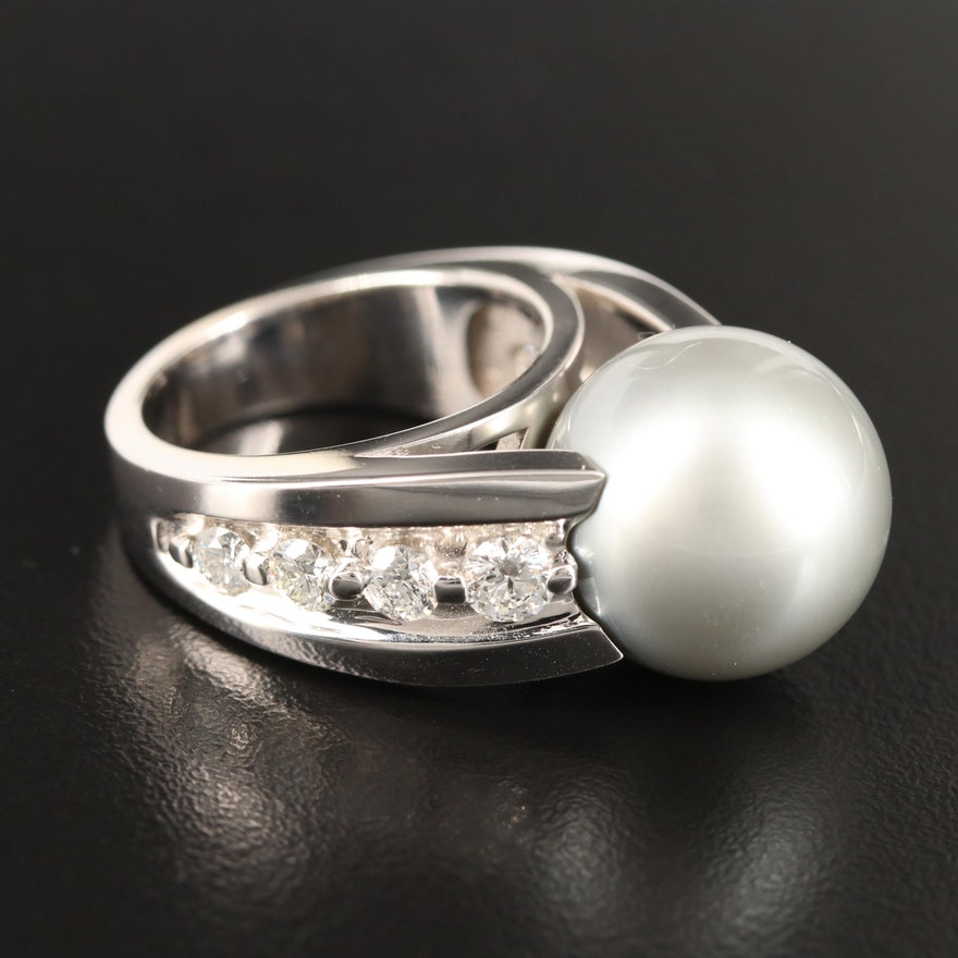 14K Pearl and 1.34 CTW Diamond Ring