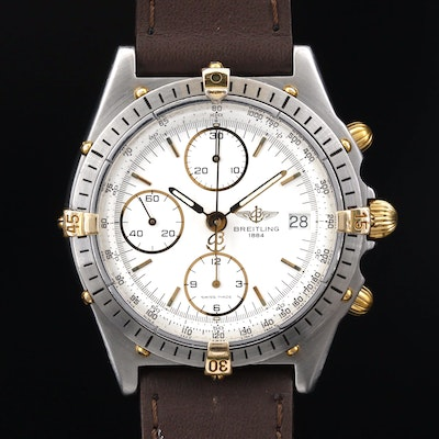 Vintage Breitling Chronomat Two Tone Stainless Steel Automatic Wristwatch