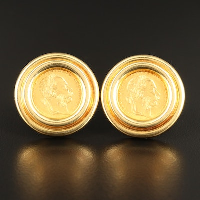 Lagos 18K Clip Earrings with 1915 Austrian 1-Ducat Gold Coins