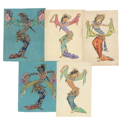 Balinese Dancers Tempera Paintings, 20th Century