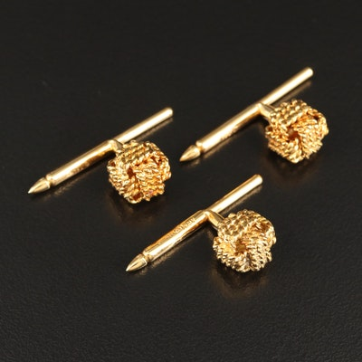 18K Shirt Studs Featuring Twisted Rope Knot Design