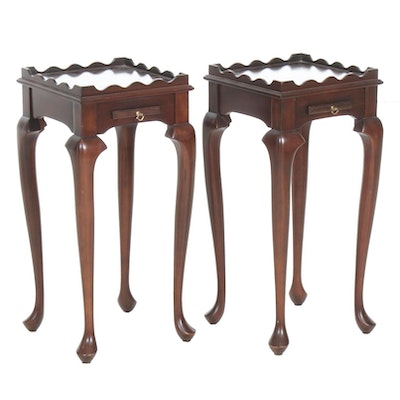 Pair of Harden George II Style Mahogany Scalloped Edge Accent Tables