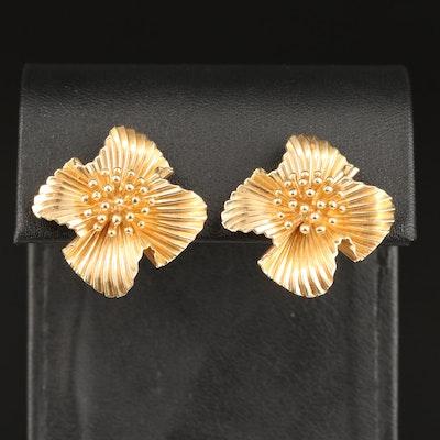 Vintage McTeigue 14K Fluted Flower Earrings
