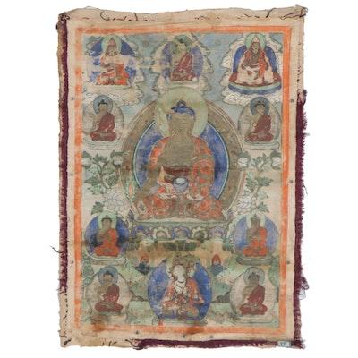 Tibetan Style Thangka Gouache Painting of Shakyamuni Buddha, 19th Century