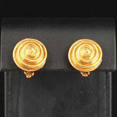 18K Swirl Pattern Clip Earrings