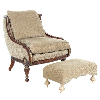 "Century Furniture ""Josephine"" Upholstered Armchair and Ottoman"