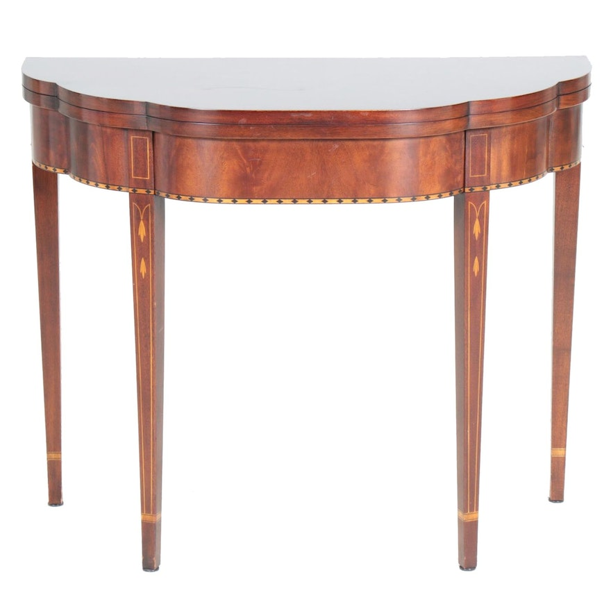 Henkel-Harris Hepplewhite Style Marquetry Inlaid Mahogany Card Table