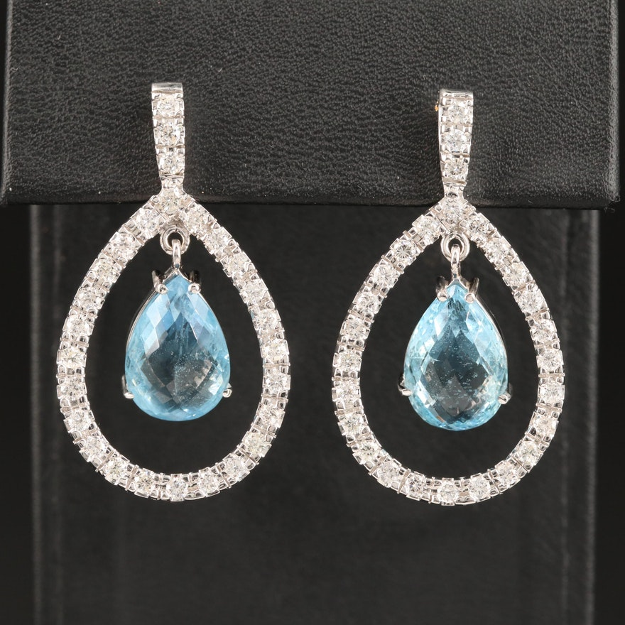 14K Aquamarine and 2.16 CTW Diamond Dangle Earrings