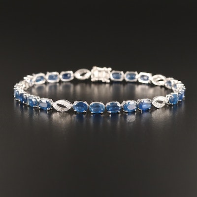18K Blue Sapphire and Diamond Line Bracelet