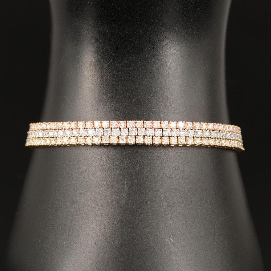 14K Tri-Color Gold 7.00 CTW Diamond Bracelet