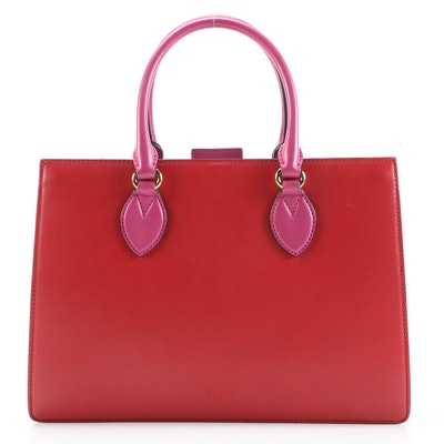 Gucci Convertible Gusset Tote in Red and Magenta Smooth Leather