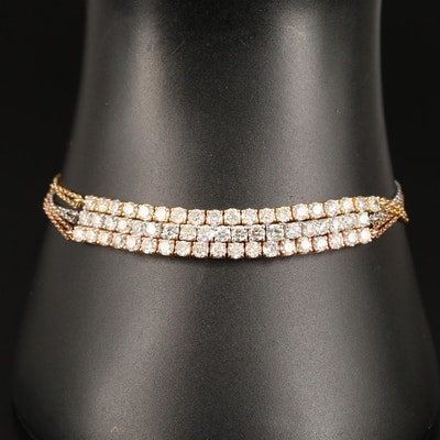 Tri-Color 18K Triple Strand 3.42 CTW Diamond Bracelet
