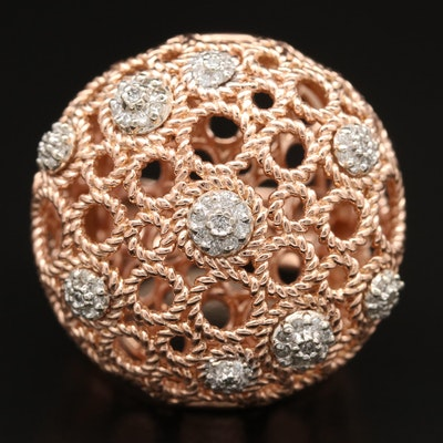 14K Rose Gold Diamond Dome Ring with Openwork Design