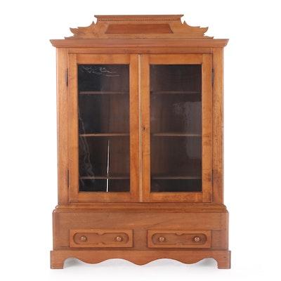 Victorian Walnut Glazed-Door Cabinet, Mid-19th Century