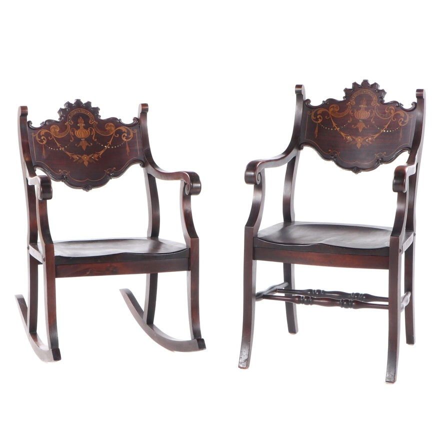 Two American Marquetry and Mother-of-Pearl Inlaid Parlor Chairs, circa 1900