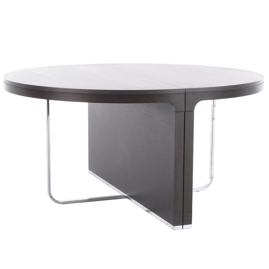 Contemporary Modern Ebonized Wood and Chrome Dining Table with Leaf Inserts
