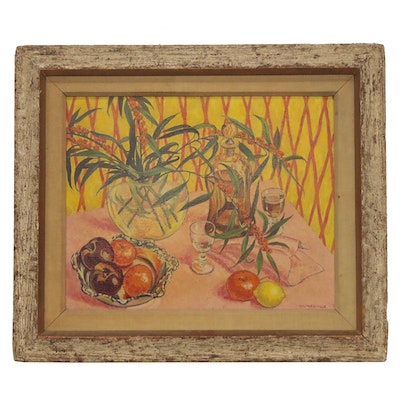 "Charles Baskerville Jr. Oil Painting ""Pink and Yellow,"" Early 20th Century"