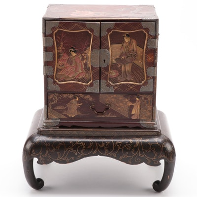 Japanese Lacquered Wood and Bronze Mounted Jewelry Chest with Stand