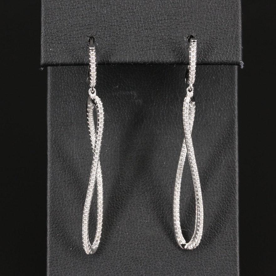 Sterling Silver Cubic Zirconia Oval Dangle Earrings
