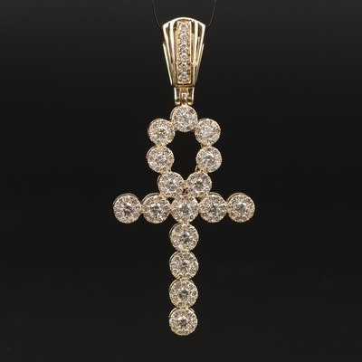 14K 2.50 CTW Diamond Ankh Pendant