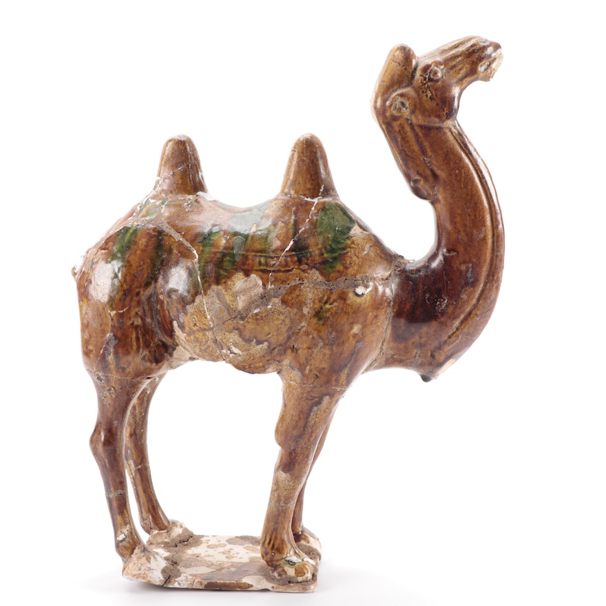 Chinese Tang Style Sancai Glazed Ceramic Sculpture of a Camel