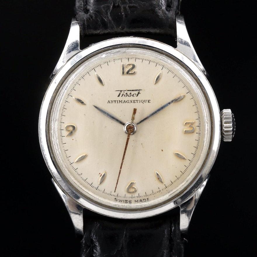 Vintage Tissot Stainless Steel Stem Wind Wristwatch