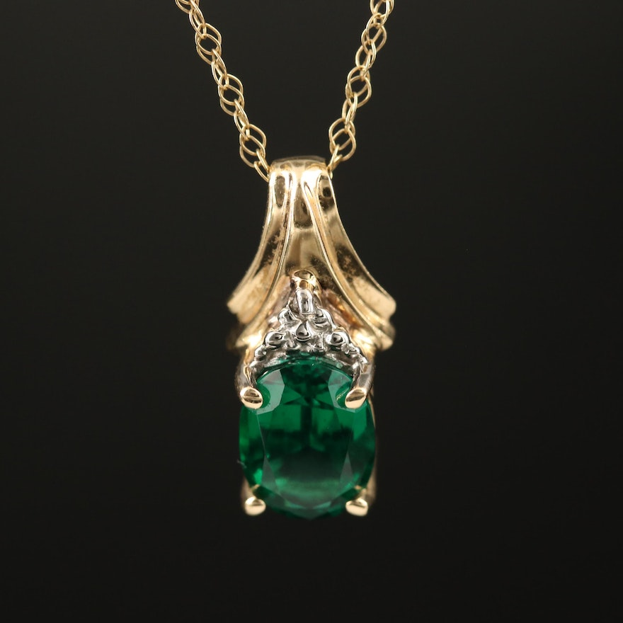 10K Emerald Pendant Necklace