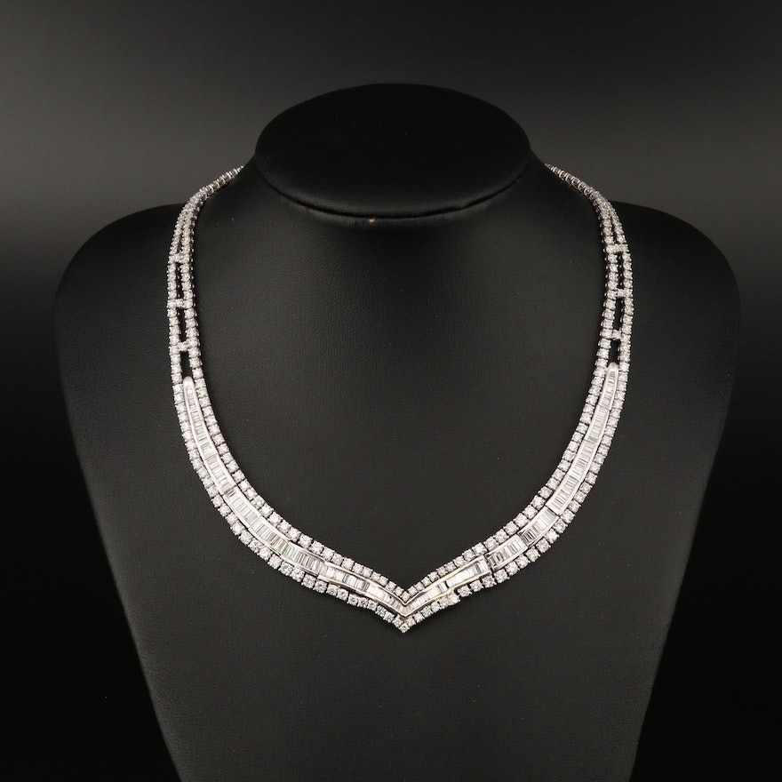 18K 13.50 CTW Diamond Chevron Choker