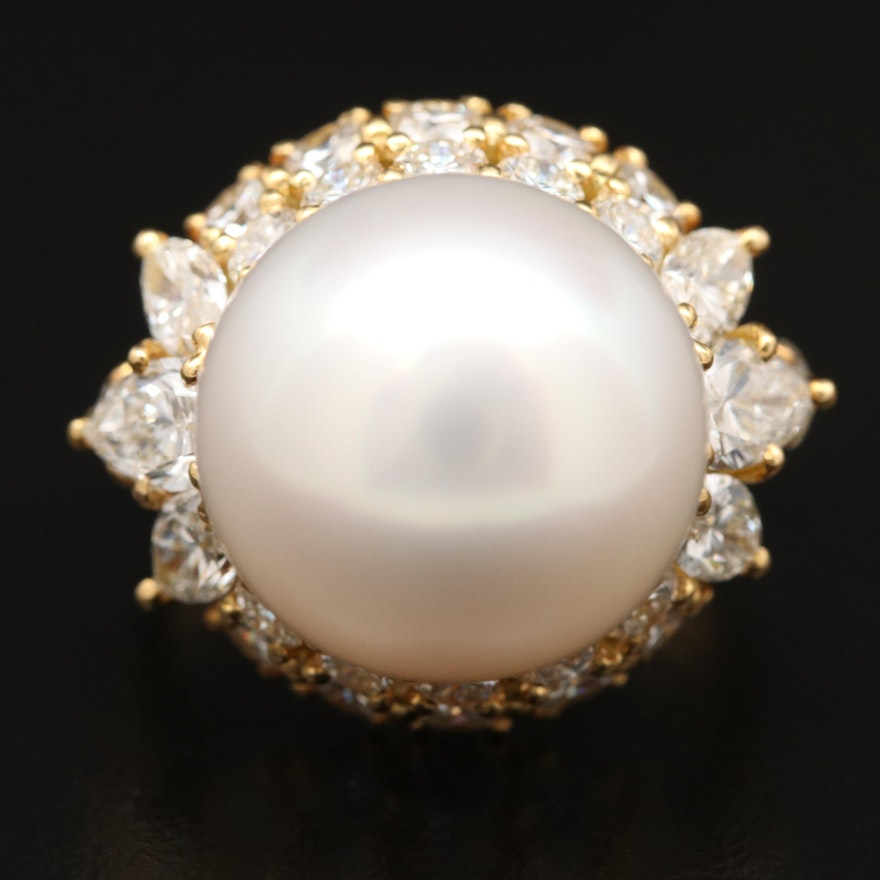 18K Pearl and 3.20 CTW Diamond Ring