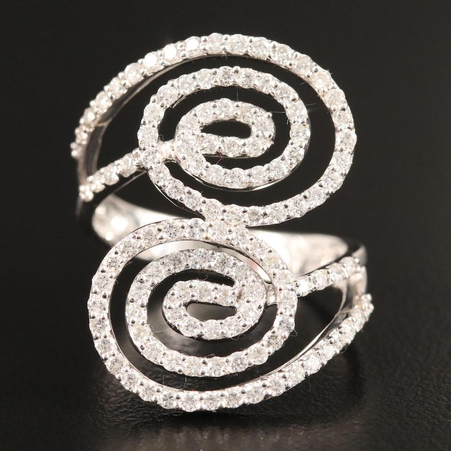 18K 1.50 CTW Diamond Spiral Bypass Ring