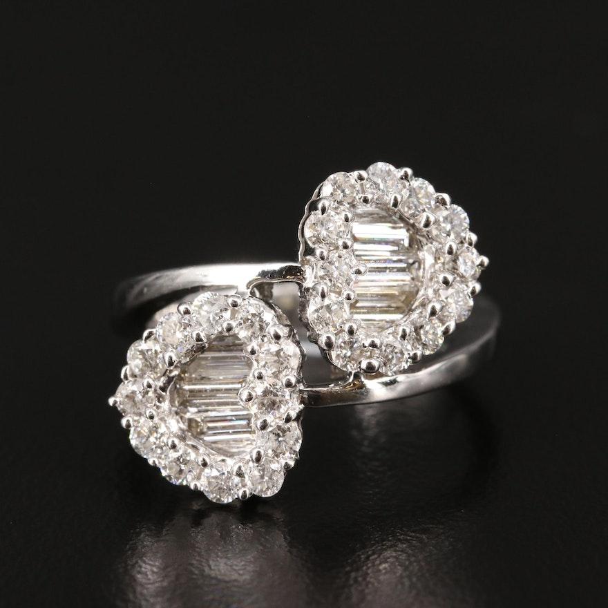14K 1.58 CTW Diamond Heart Bypass Ring