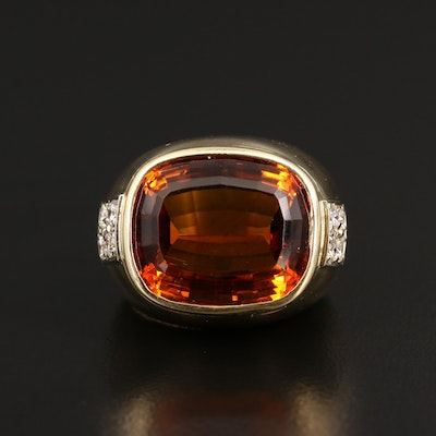 18K Citrine Ring with Diamond Accents