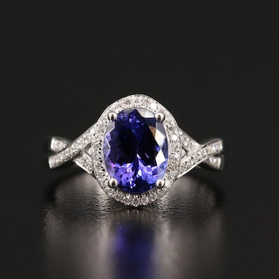 Iliana 18K Tanzanite Ring with Diamond Halo