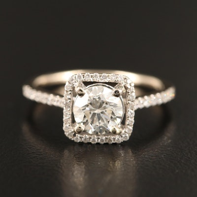 18K 1.21 CTW Diamond Halo Cathedral Ring