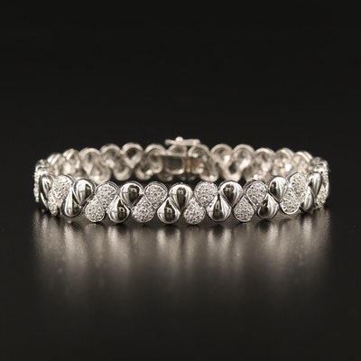 18K 2.25 CTW Pavé Diamond Fancy Link Bracelet