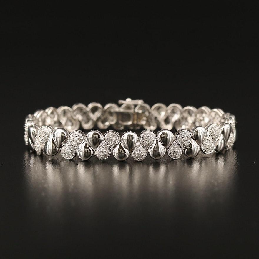 18K 2.25 CTW Pavé Diamond Fancy Link Bracelet