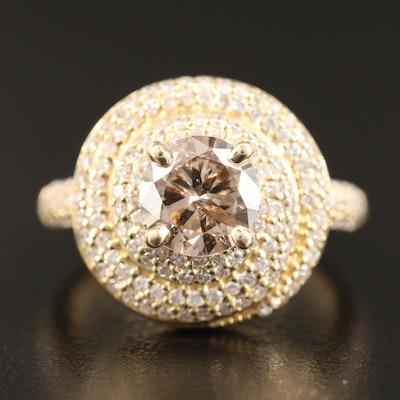 14K 2.36 CTW Pavé Diamond Spiral Ring with 1.40 CT Center
