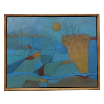 Eugene DeSmith Abstract Landscape Oil Painting, 21st Century