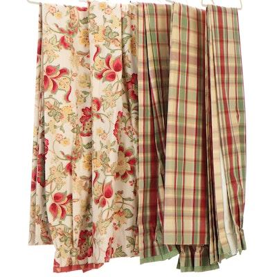 Jacobean and Plaid Printed Fabric Bespoke Pinch Pleat Drapery Panels