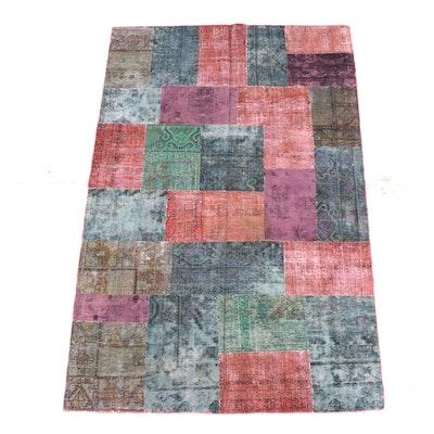 5'3 x 8'4 Handmade Persian Wool Patchwork Rug