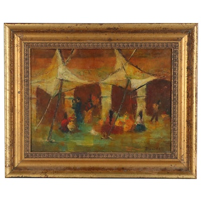 Modernist Style Oil Painting of Group Gathering, Late 20th Century
