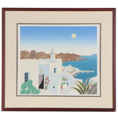 Thomas McKnight Serigraph of Santorini, Late 20th Century