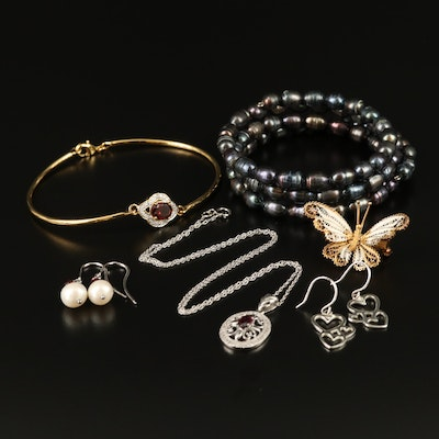 Assorted Jewelry Featuring Enamel Filigree Butterfly Brooch