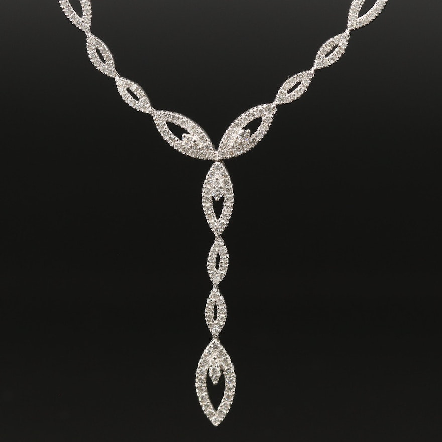 14K 2.89 CTW Diamond Marquise Link Necklace