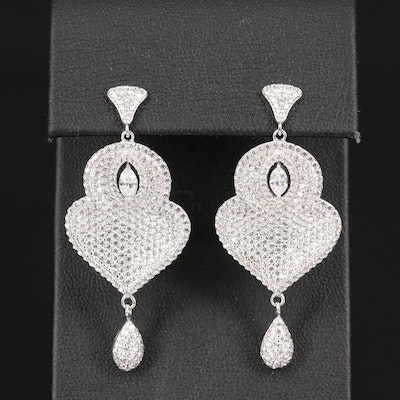 Sterling Silver Cubic Zirconia Cluster Dangle Earrings
