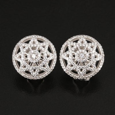 Sterling Silver Cubic Zirconia Openwork Button Earrings