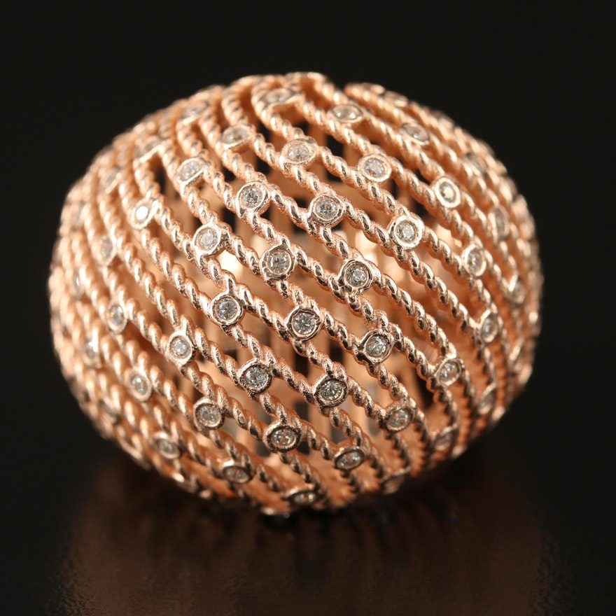 Sterling Silver Cubic Zirconia Openwork Dome Ring