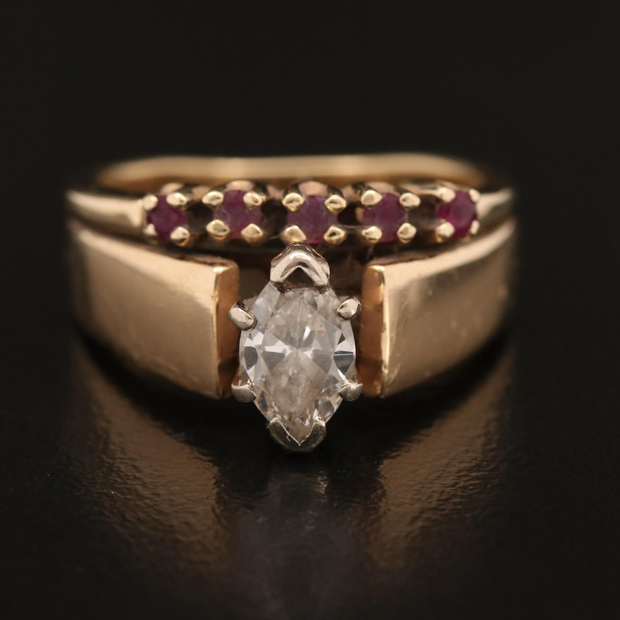 14K Diamond and Cathedral Ring with Ruby Band
